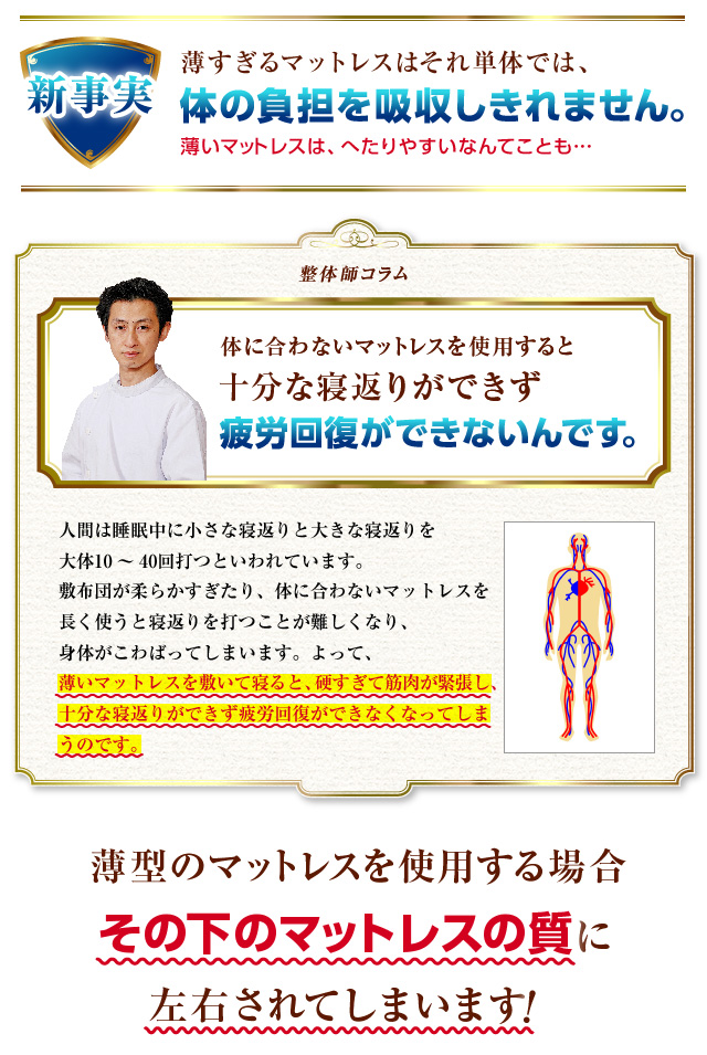 薄すぎるマットレスでは体の負担を吸収しきれません