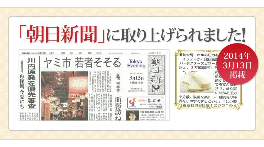 朝日新聞にスリーパードクターズピローが取り上げられました